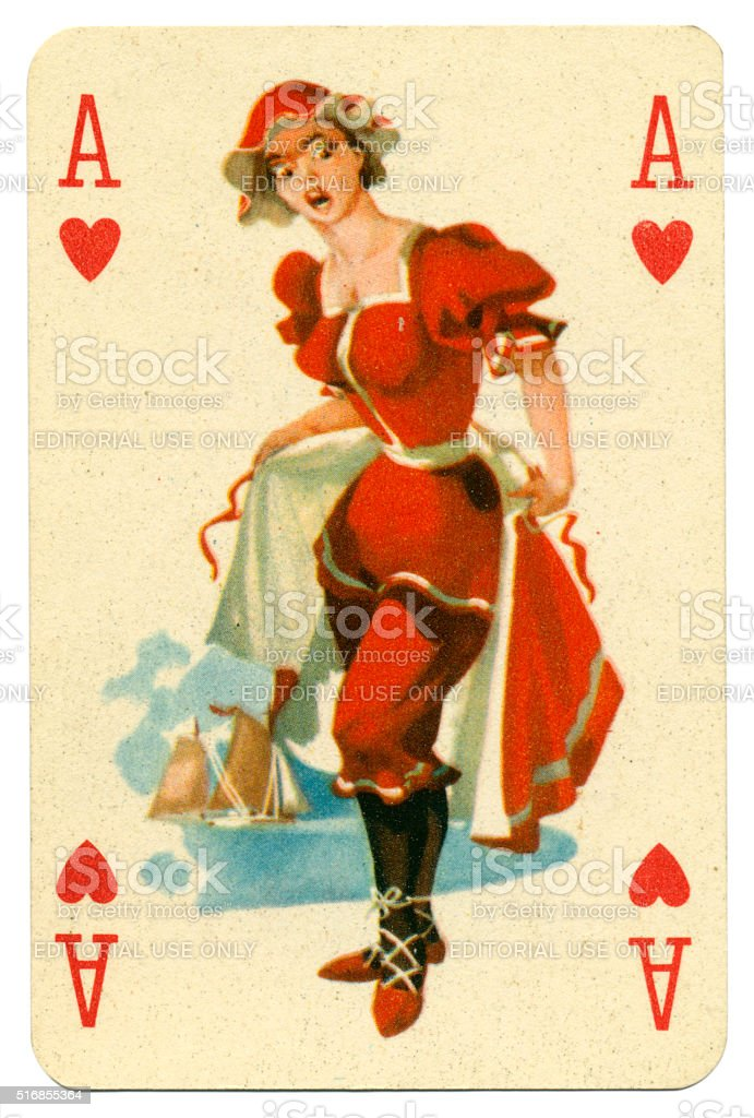 Seaside pin-up Romikartya 4 vintage playing card Hungary 1950s stock photo