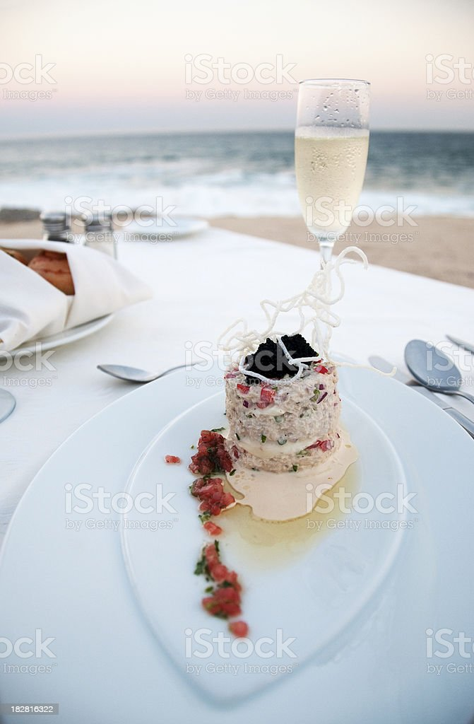 Seaside Private Fine Dining: Crabcake with caviar (Los Cabos, Mexico) stock photo
