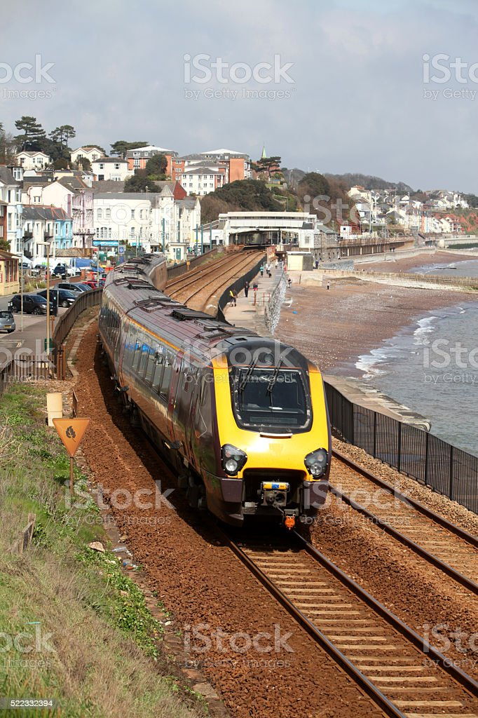 Seaside railway stock photo