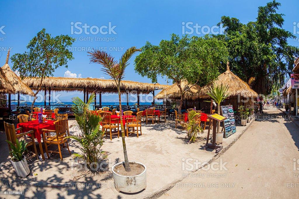 Seaside Restaurant in Gili Islands in Lombok, Indonesia stock photo