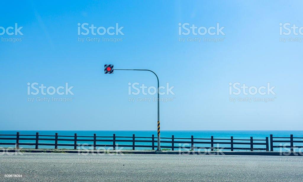 Seaside Road traffic lights stock photo