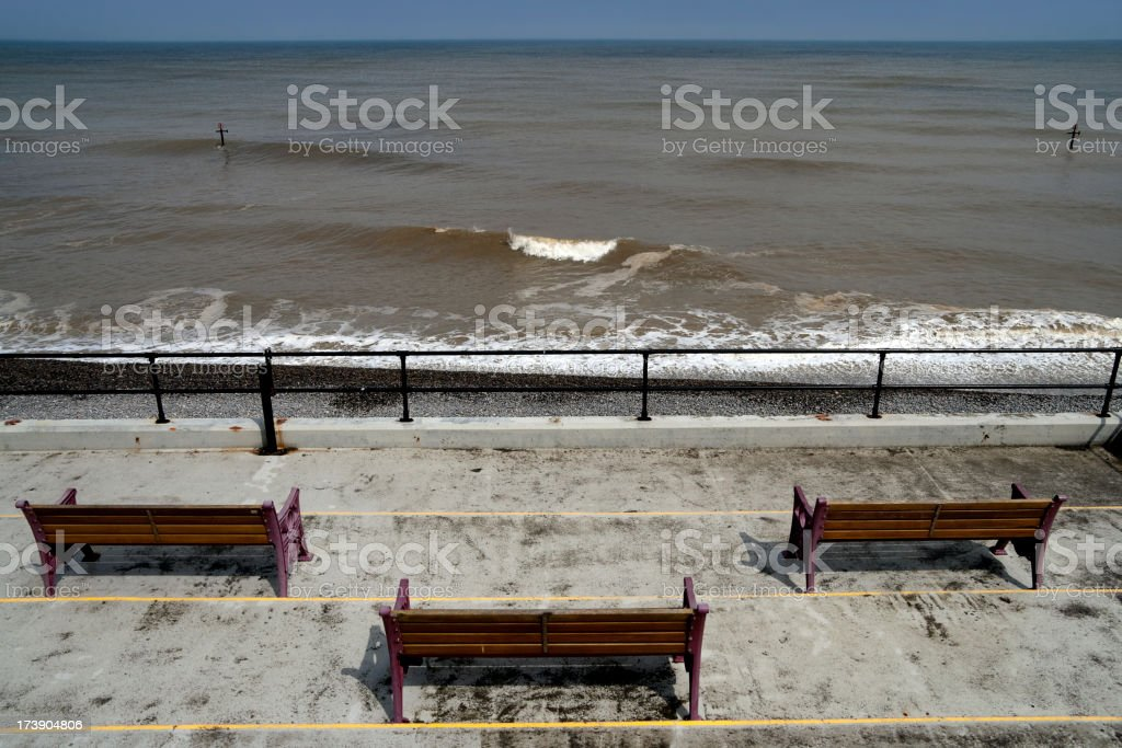 Seaside seats stock photo