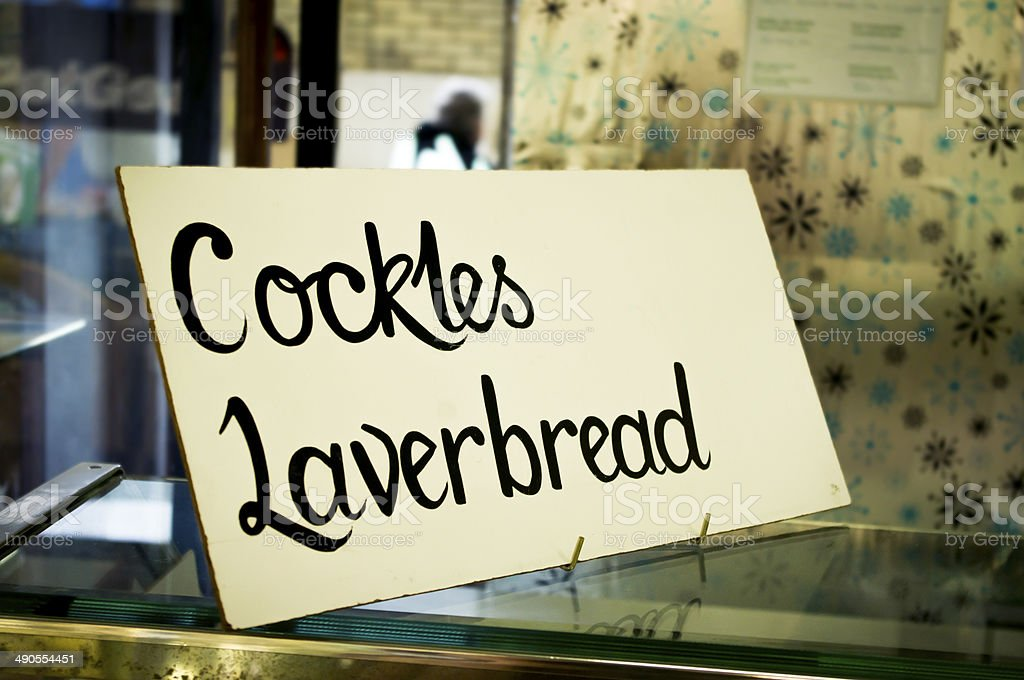 Seaside sign for Welsh laverbread stock photo