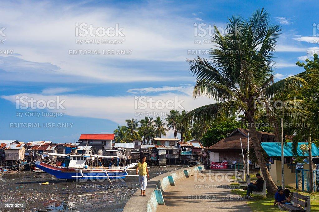 Seaside street in Davao, Philippines stock photo