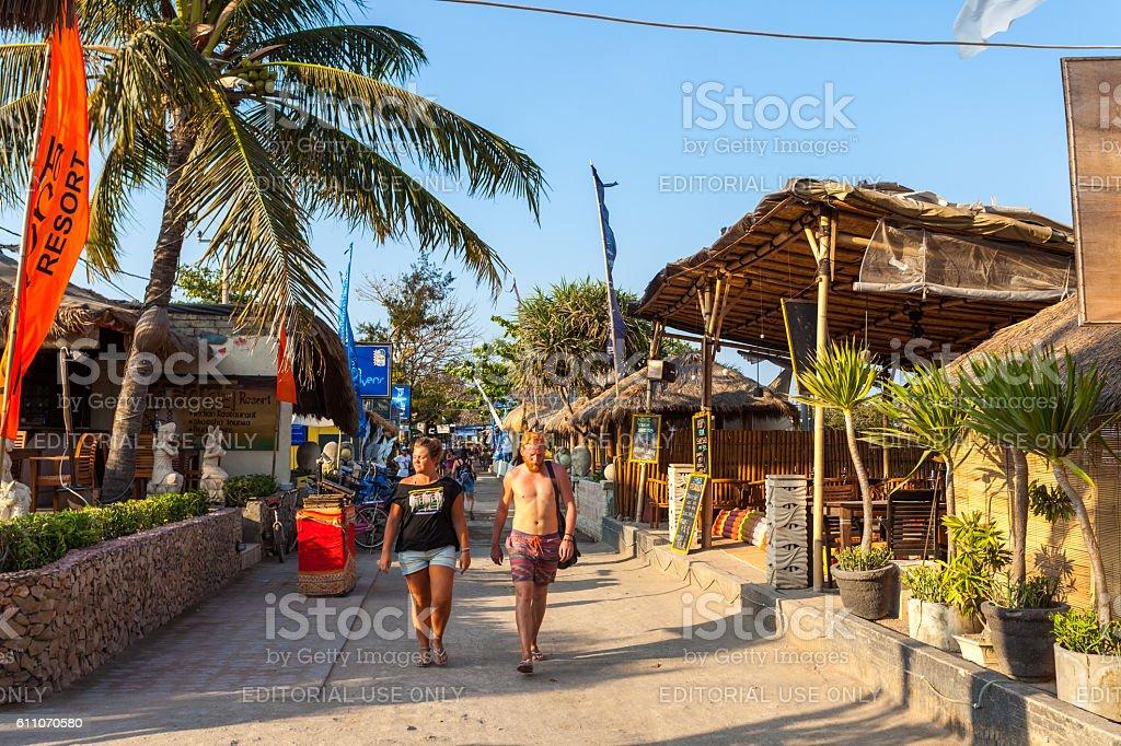 Seaside street in the Gili Islands in Lombok, Indonesia stock photo