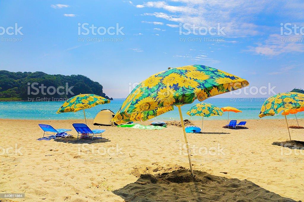 Seaside sunshade stock photo