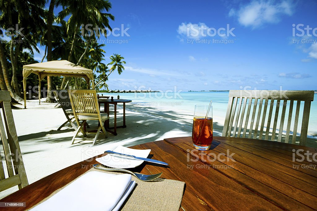 Seaside Table with Beautiful Seascape stock photo