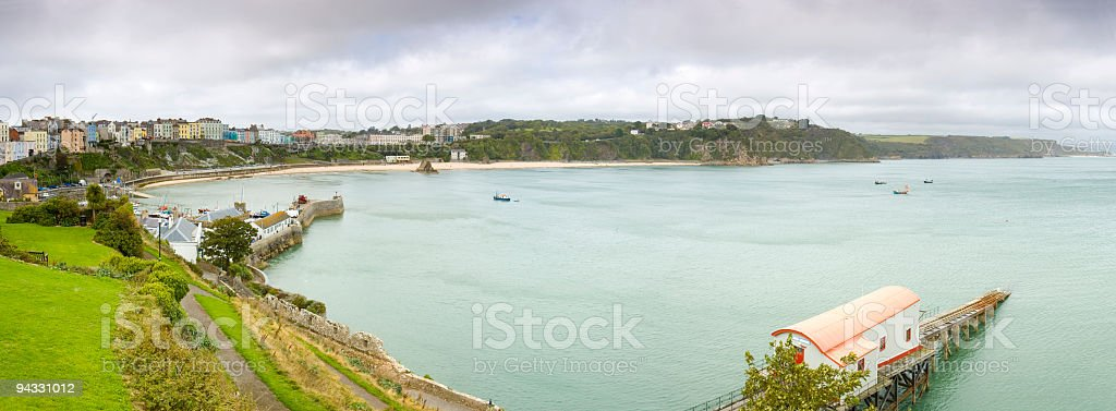Seaside town and harbor stock photo