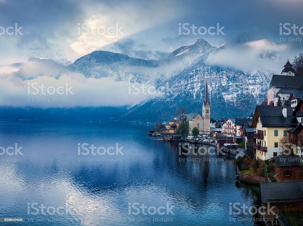 Seaside view from Hallstatt Austria stock photo