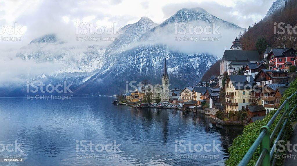 Seaside view from Hallstatt Austria stock photo