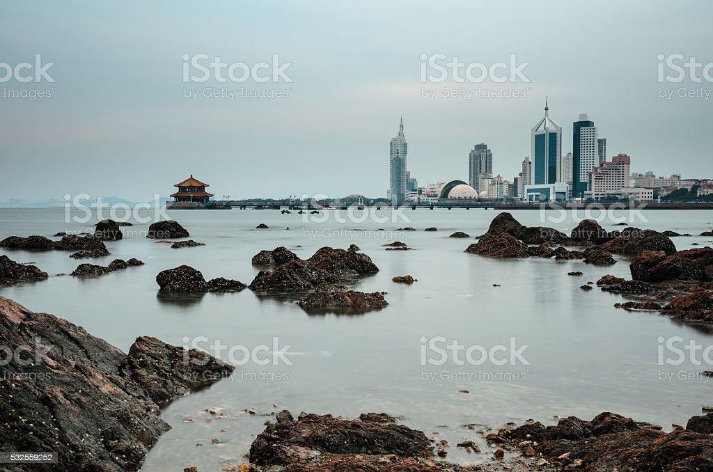 Seaside view of Qingdao, China stock photo