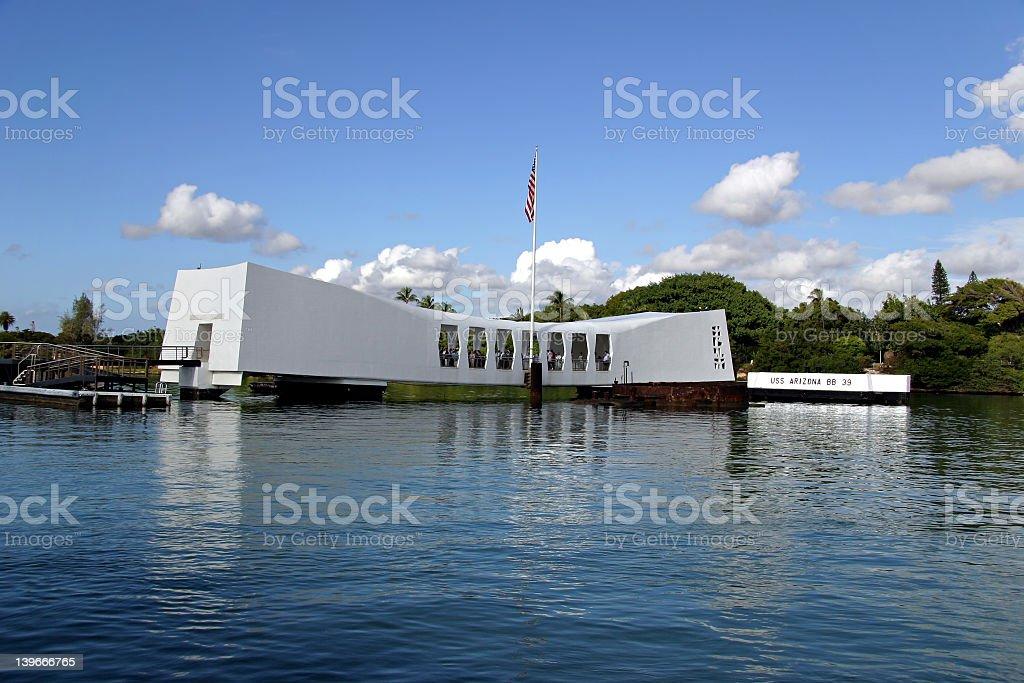Seaside view of the U.S.S. Arizona Memorial stock photo