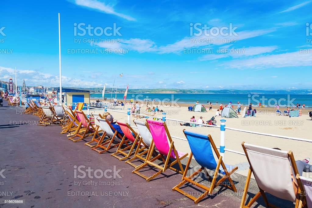 seaside view of Weymouth, South East England stock photo