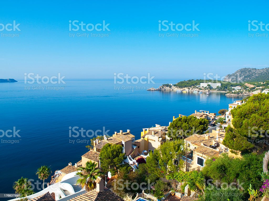 Seaside views of Cala Fornells, Mallorca stock photo
