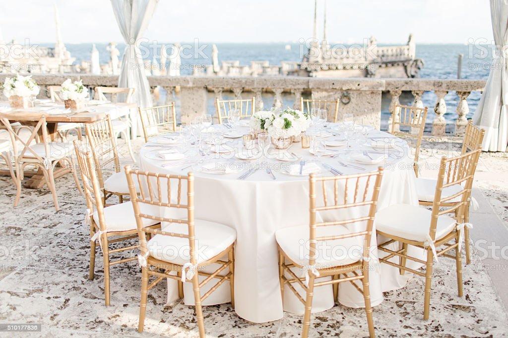 Seaside Wedding Decorations stock photo