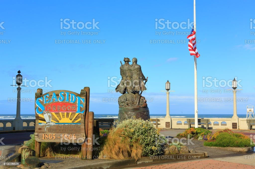 Seaside's Square with Lewis and Clark Monument stock photo