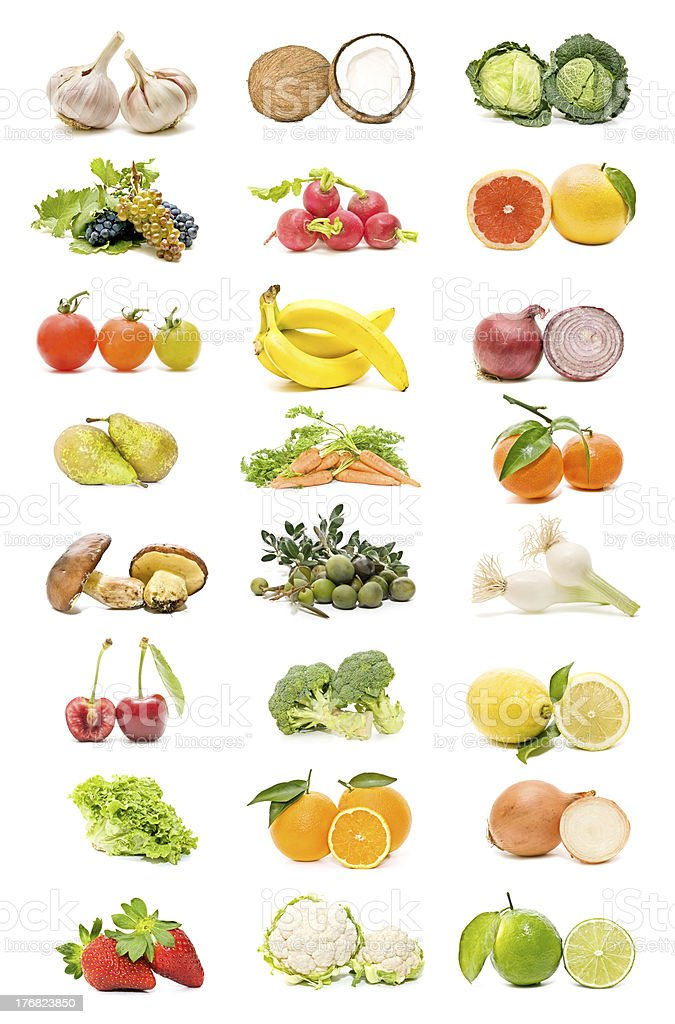 seasonal fruits and vegetables stock photo