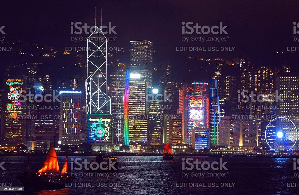 Seasonal greetings at the Hong Kong skyscrapers stock photo