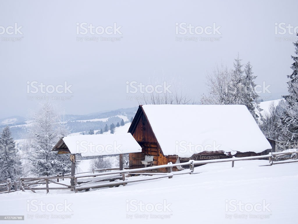 Seasonal shepherd shelter. Pieniny Mountains, Poland. stock photo