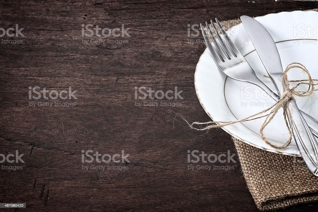seasonal table with cutlery stock photo