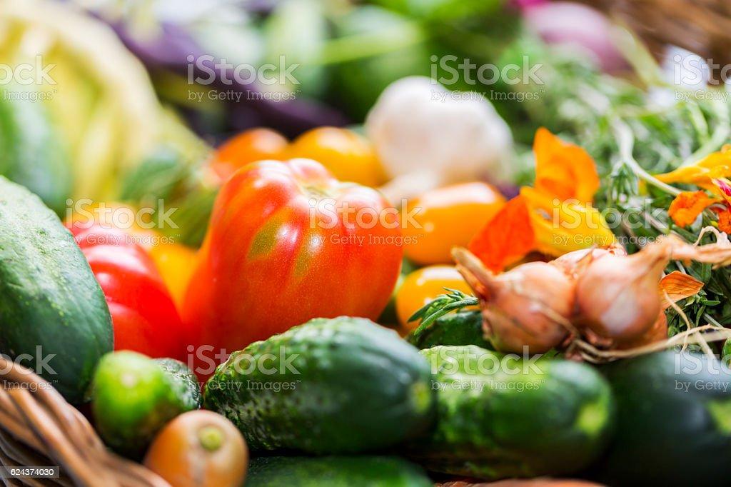 Seasonal vegetables in a basket stock photo