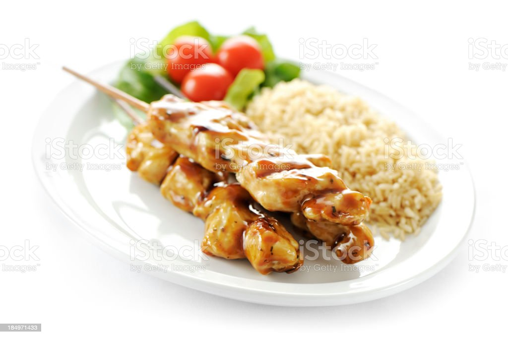 Seasoned chicken skewers stock photo