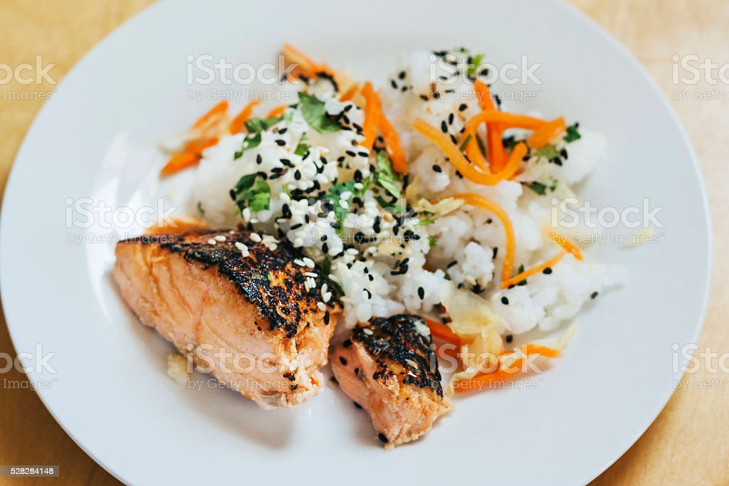 Seasoned Salmon and Sticky Rice stock photo
