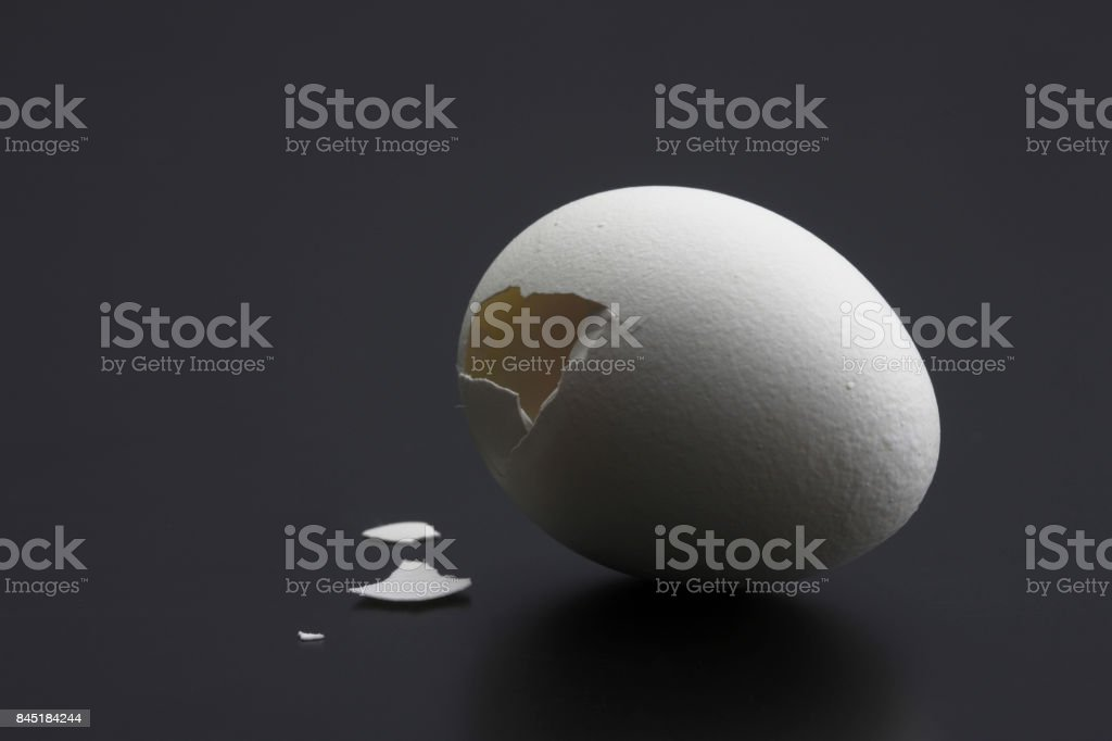 Seasoned though cracked eggs stock photo
