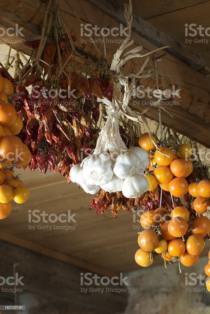 seasoned tomatoes and dried hot peppers royalty-free stock photo