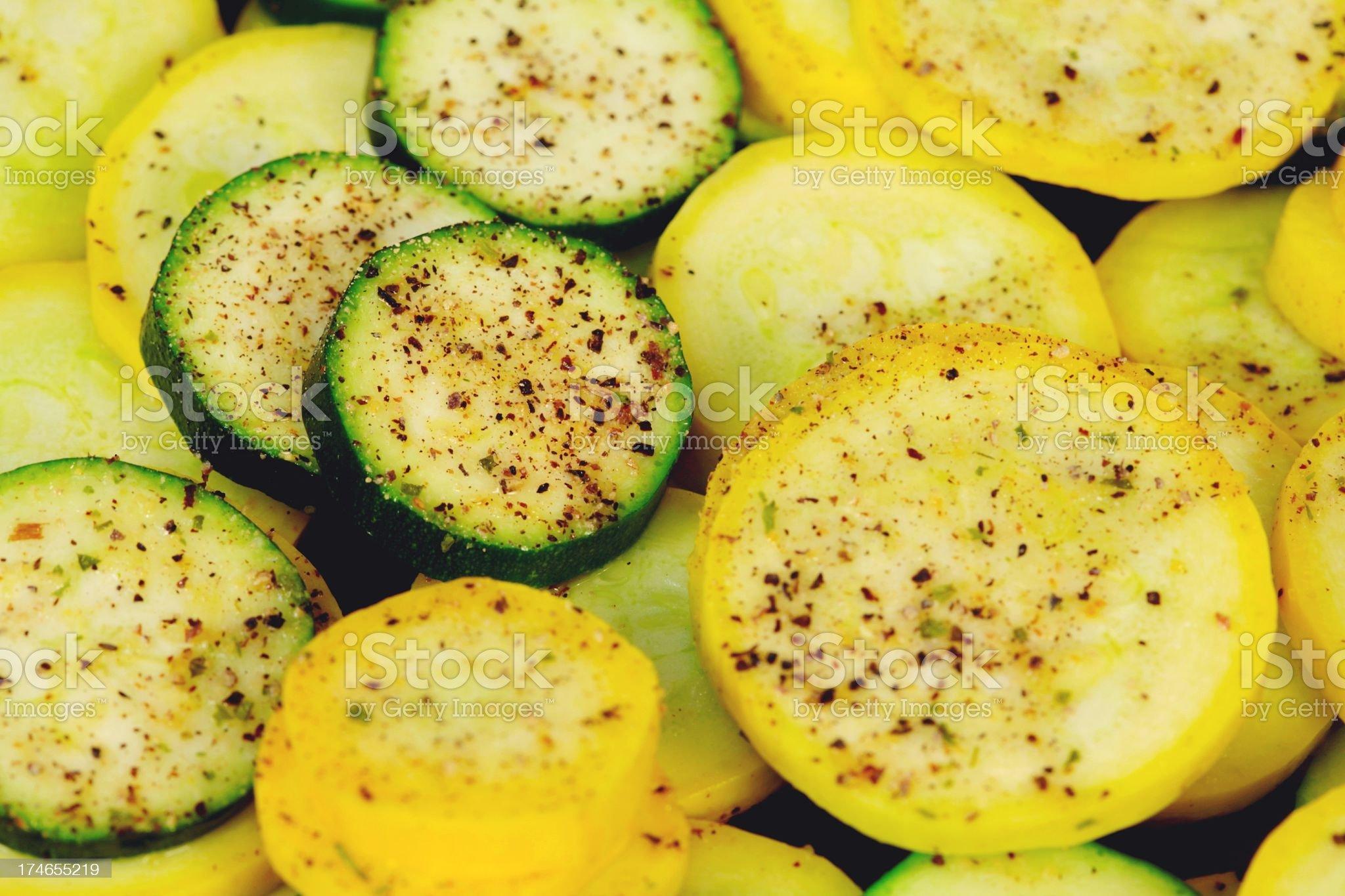 Seasoned yellow Squash and green zucchini royalty-free stock photo