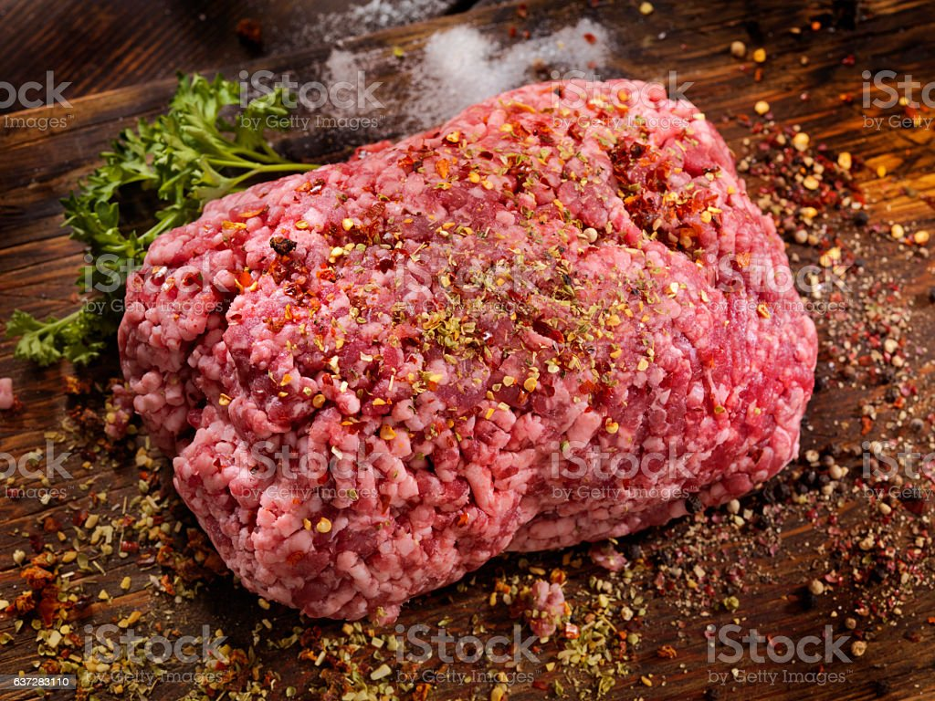 Seasoning 100% Raw Ground Lamb stock photo