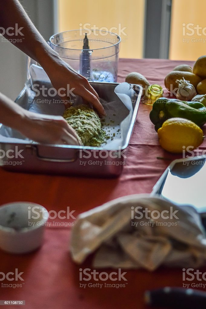 seasoning anglerfish - preparing food stock photo