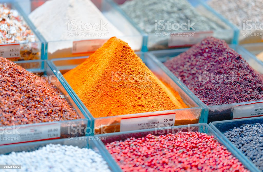 Seasoning at grand bazaar in Istanbul, Turkey. stock photo