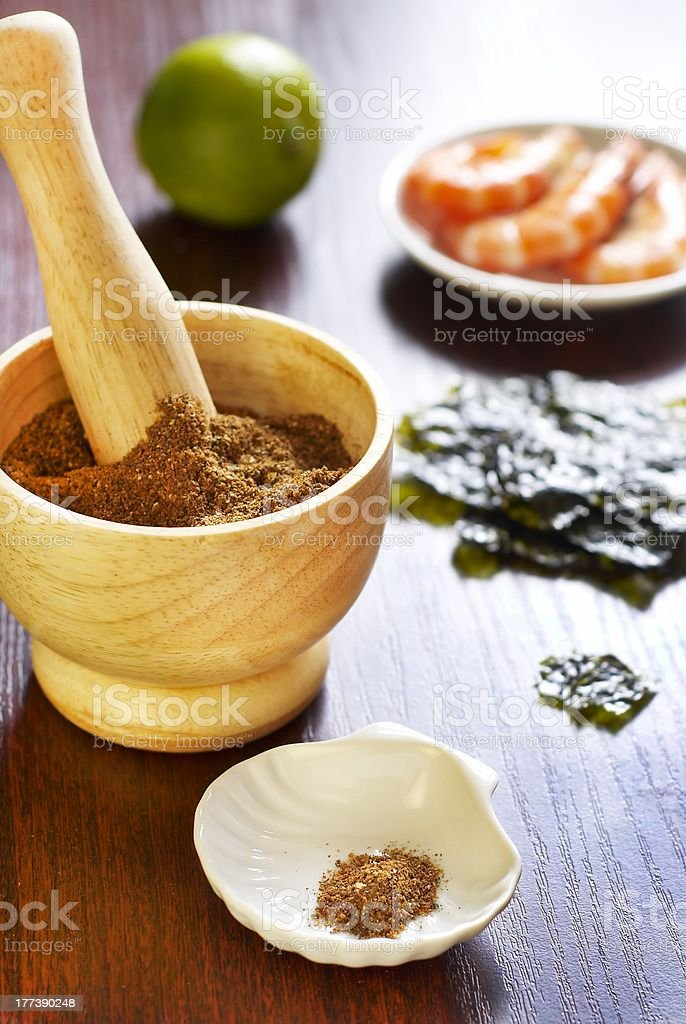 Seasoning from shrimp shells, nori and lime zest stock photo