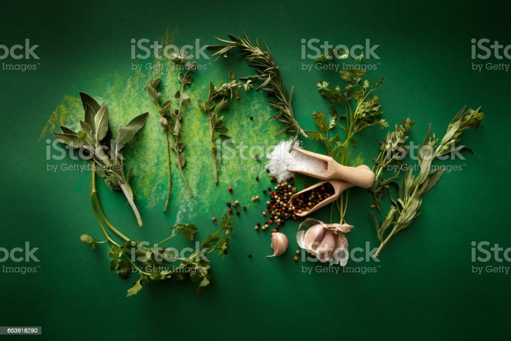 Seasoning: Herbs, Olive Oil, Garlic, Salt and Pepper Still Life stock photo
