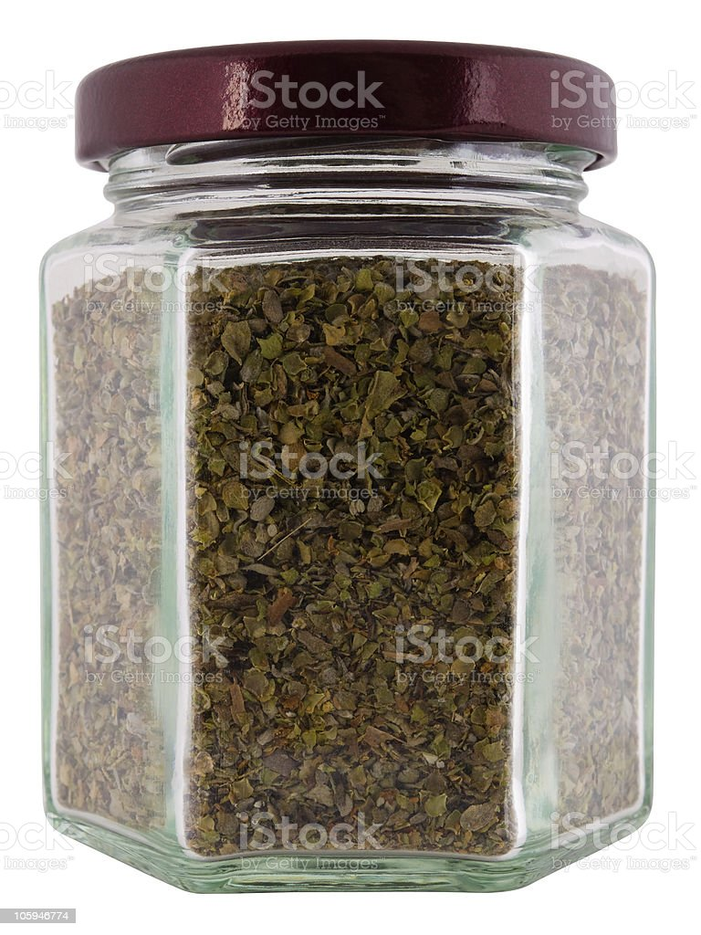 Condimento mejorana en el recipiente. foto de stock libre de derechos