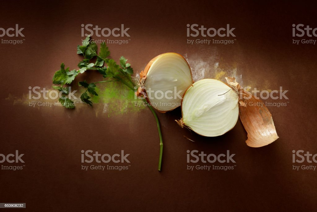 Seasoning: Onion and Chervil Still Life stock photo