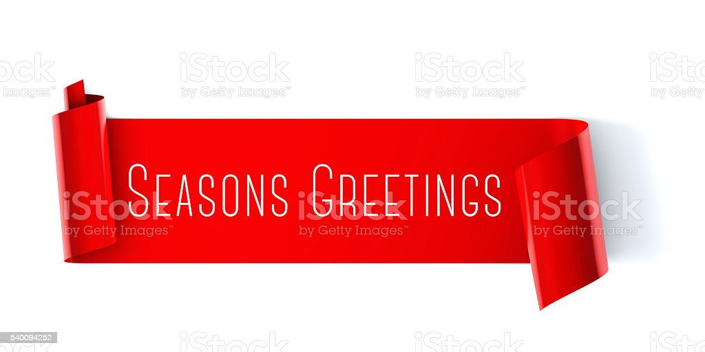 Seasons greeting scroll banner stock photo