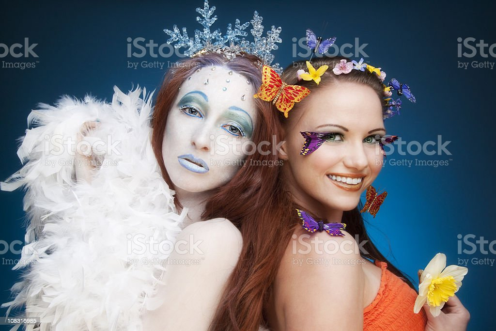 Seasons: Winter and Spring royalty-free stock photo