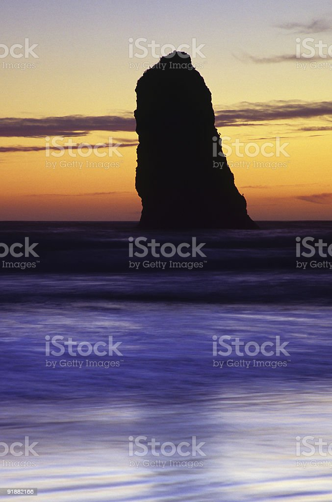 Seastack, Cannon Beach, Oregon stock photo
