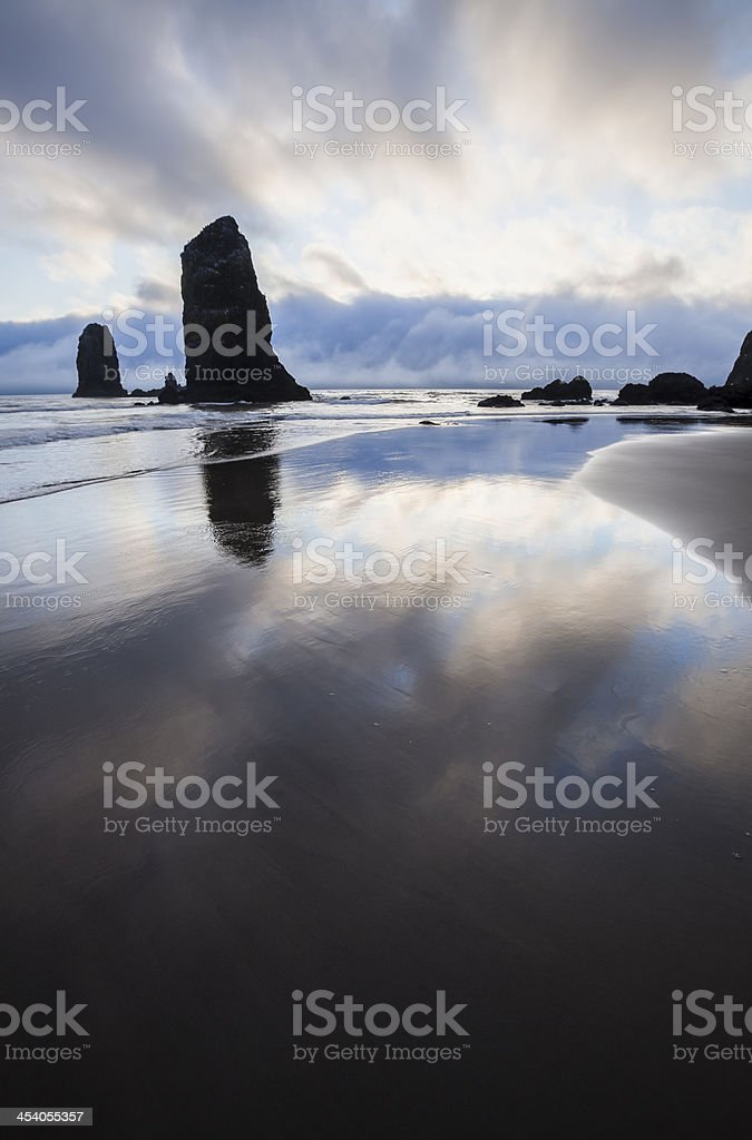 Seastacks at Sunset on Cannon Beach royalty-free stock photo