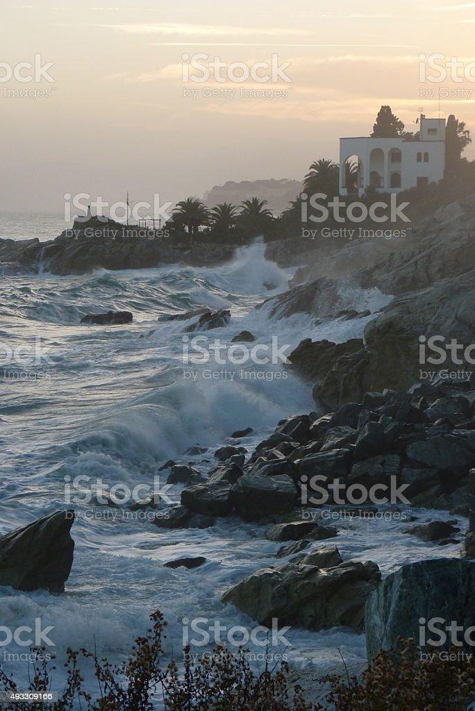 Seastorm with raugh waves on the coast stock photo