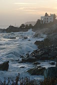 Seastorm with raugh waves on the coast