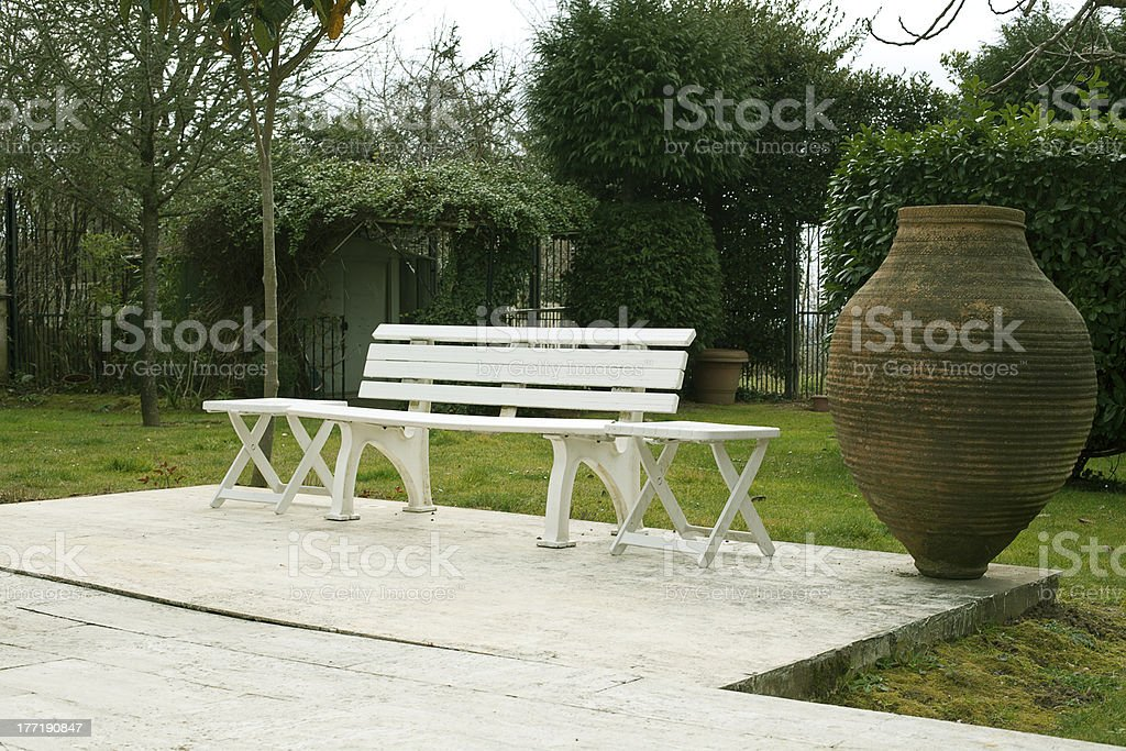 Seat And Old Pattery royalty-free stock photo