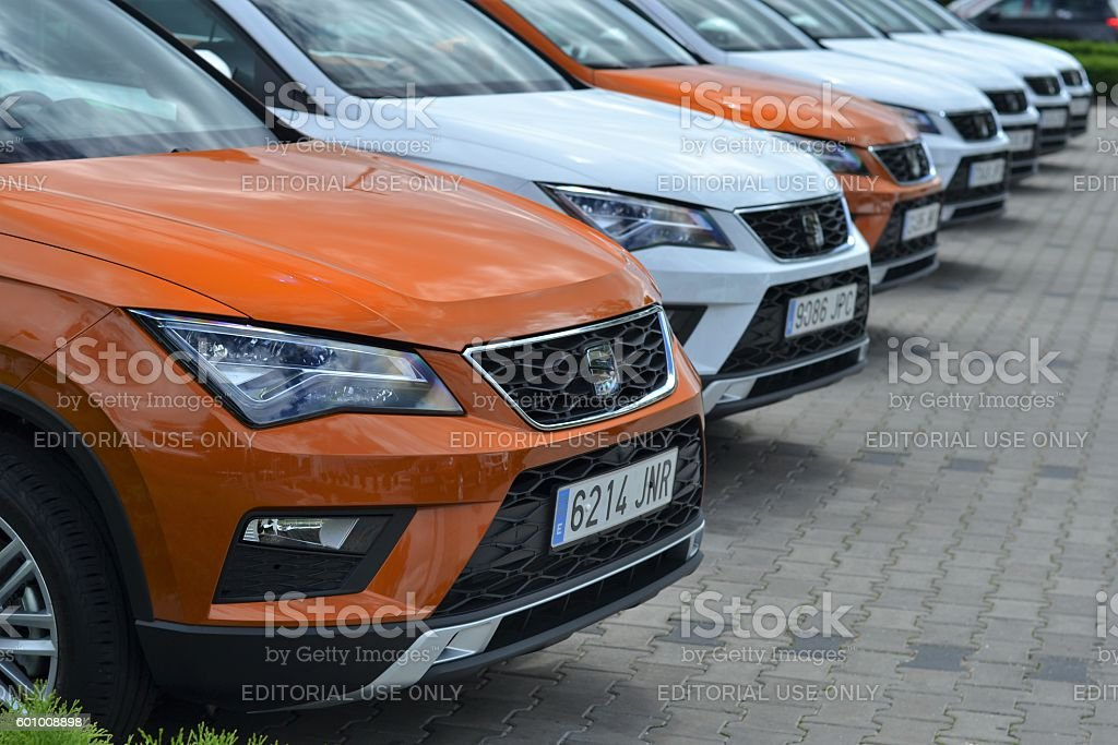 Seat Ateca SUV vehicles on the parking stock photo