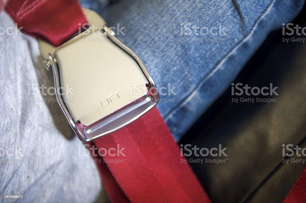 Seat belt of the aeroplane royalty-free stock photo
