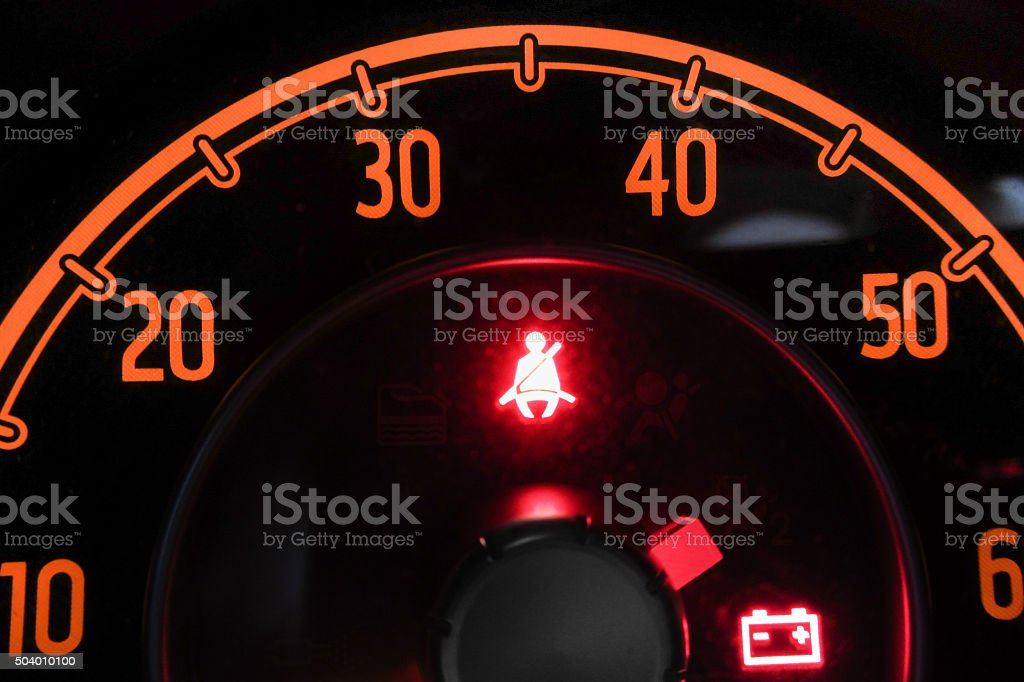 seat belts light switched on stock photo