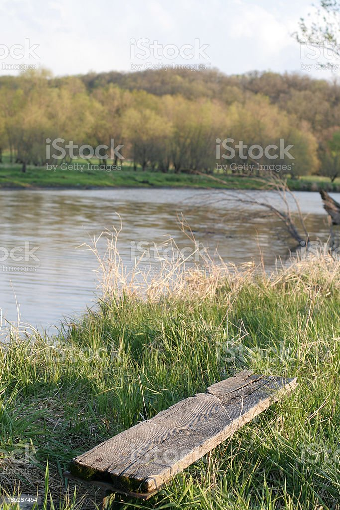 Seat Down by the River -NW Iowa royalty-free stock photo