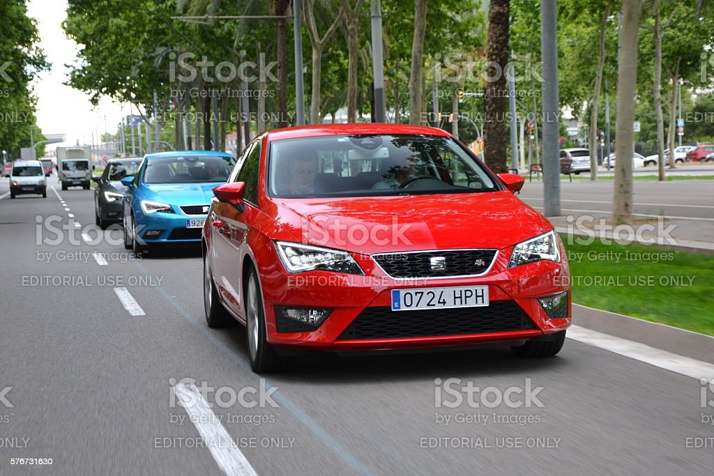 Seat Leon FR driving on the street stock photo