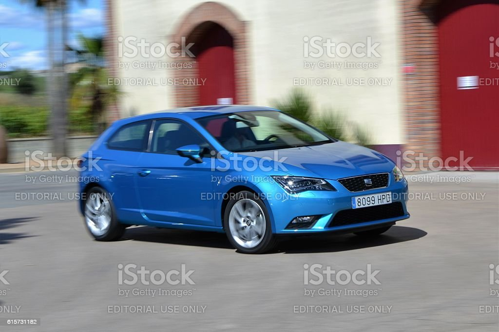 Seat Leon in motion stock photo